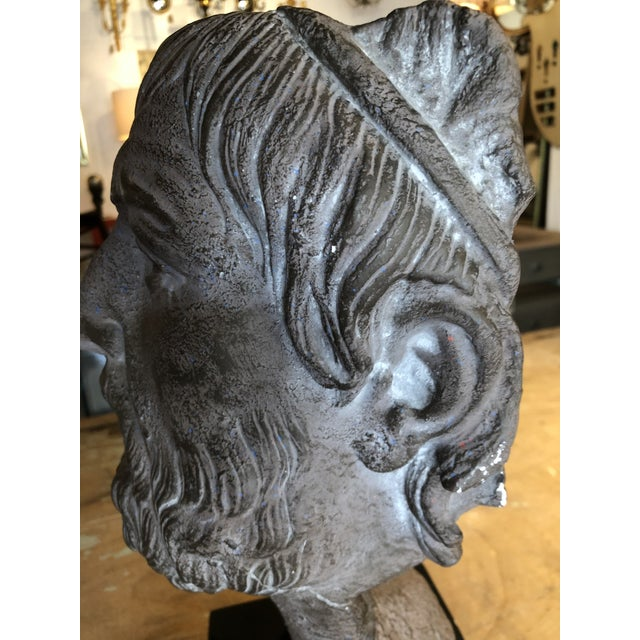 Hellenic Style Plaster Bust on Stand For Sale - Image 11 of 13