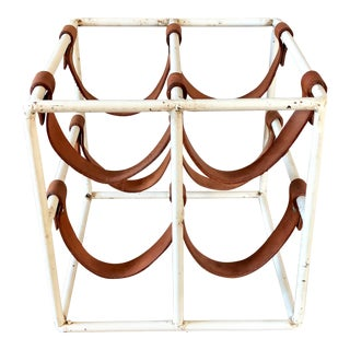 Arthur Umanoff White Iron Leather Wine Rack For Sale