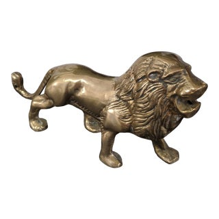 Vintage Brass Lion Statue For Sale