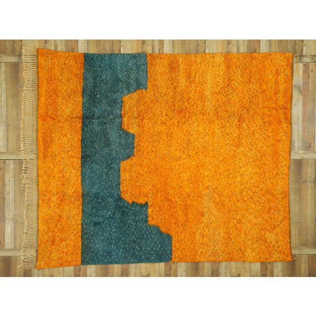 Tangerine Moroccan Contemporary Berber Area Rug - 08'09 X 10'07 For Sale - Image 8 of 10