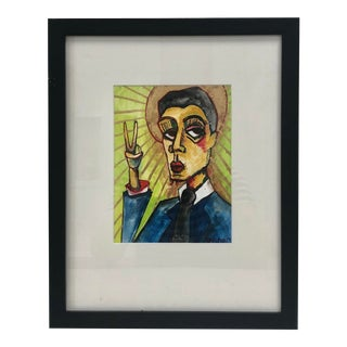 Painting of a Fashionable Man With Gold Leaf For Sale
