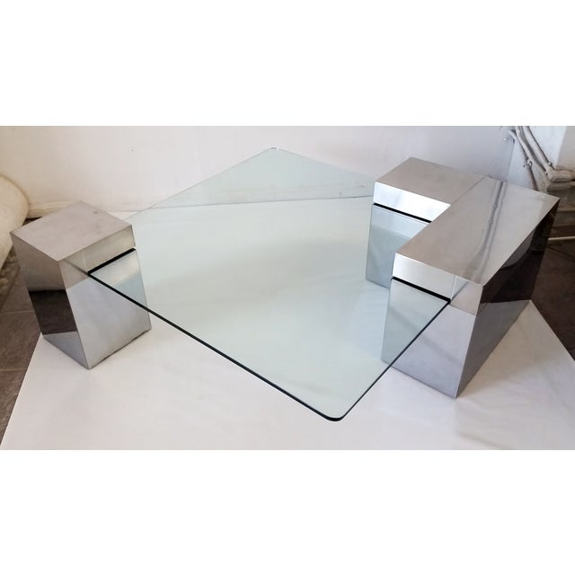 Paul Evans Style Chrome & Glass Coffee Table - Image 5 of 7