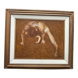 1960s Figurative Male Nude Study Oil Painting by Wade Reynolds, Framed For Sale