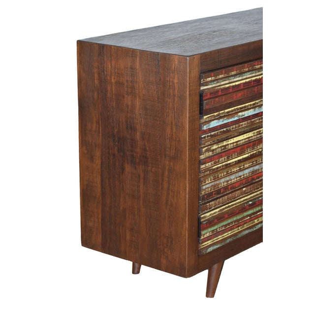 Country 4 Door Reclaimed Wood Sideboard For Sale - Image 3 of 4
