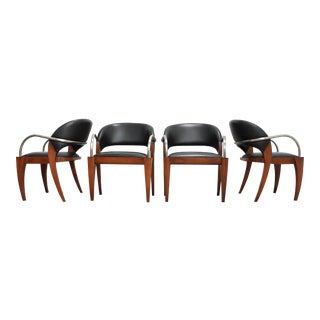 Brueton Willow Game Chairs - Leather and Steel Dining Arm Chairs