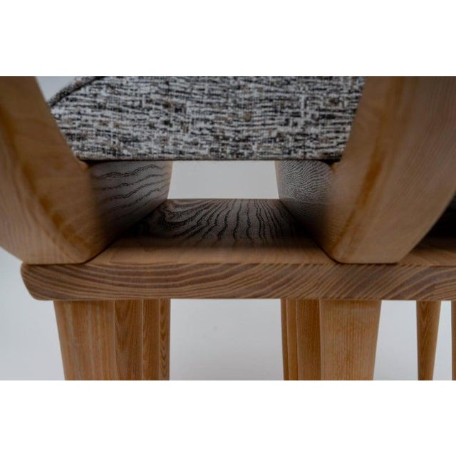 Late 20th Century Custom Curule Bench in Oak and Stainless Steel For Sale - Image 5 of 12