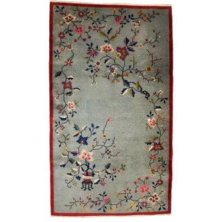 Antique Art Deco Chinese Handmade Rug - 4' x 7' For Sale
