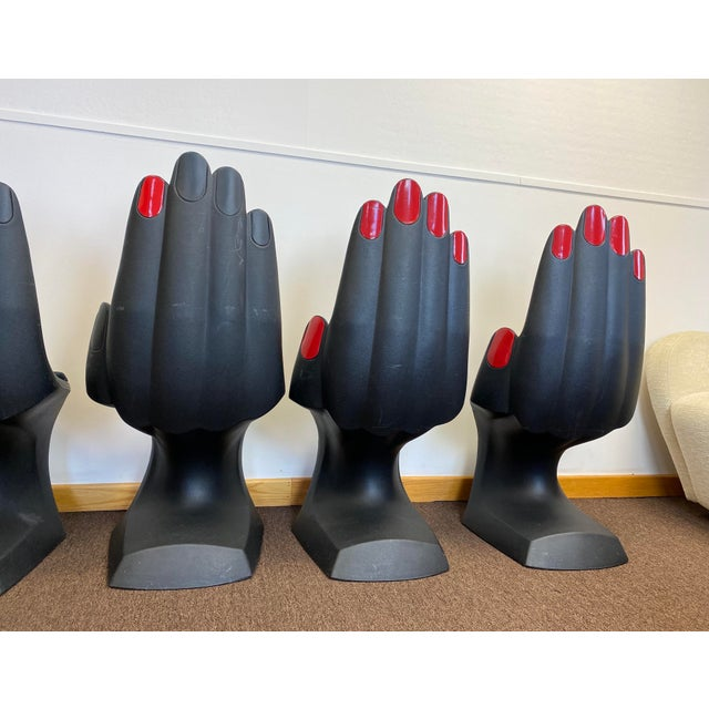 1990s Vintage European Touch Black Hand Chairs - Set of 6 For Sale - Image 9 of 12