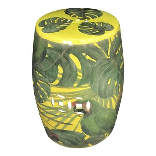 Philodendron Leaf Decorated Garden Stool For Sale