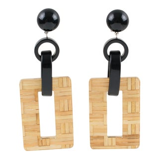 Angela Caputi Dangling Clip on Earrings Black Resin With Lucite and Rattan For Sale
