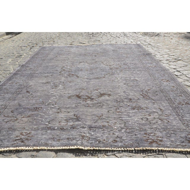 Islamic Vintage Overdyed Gray Rug - 5′1″ × 7′7″ For Sale - Image 3 of 6