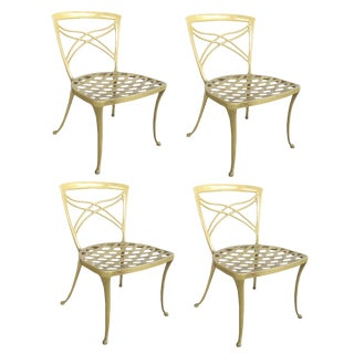A Set of 4 American 1960's Yellow-Painted Aluminum Garden Chairs; By Brown Jordan For Sale
