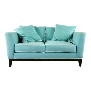 Contemporary Jonathan Louis Blue Upholstered Sofa For Sale