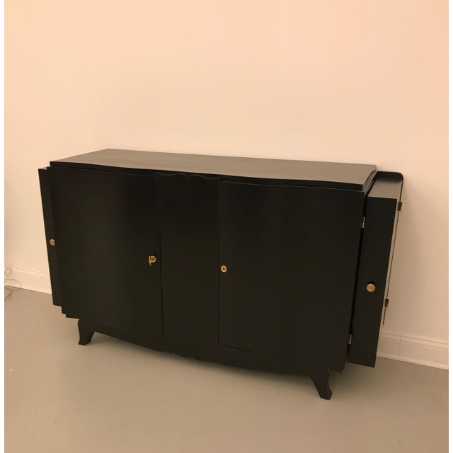 French Art Deco Black Lacquered Sideboard or Buffet With Dry Bar For Sale - Image 11 of 12