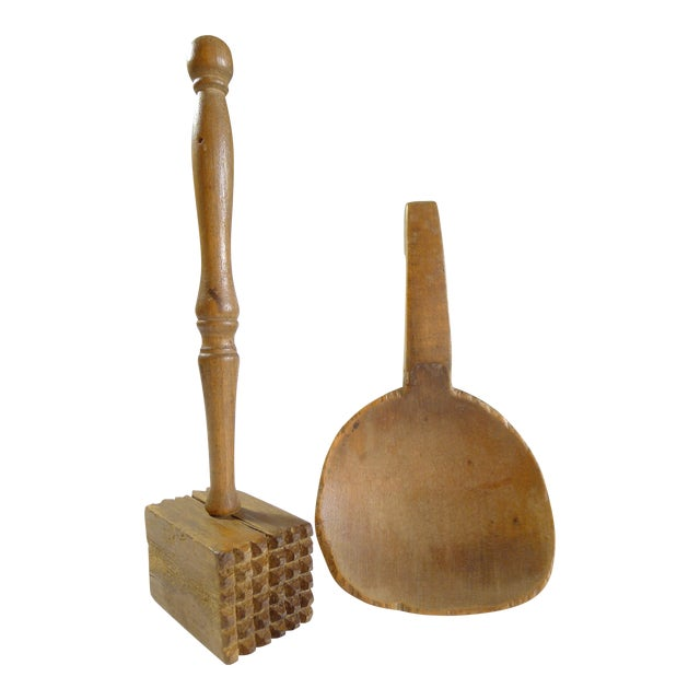 Antique Primitive Amish Wood Butter Paddle & Masher - A Pair - Image 1 of 6