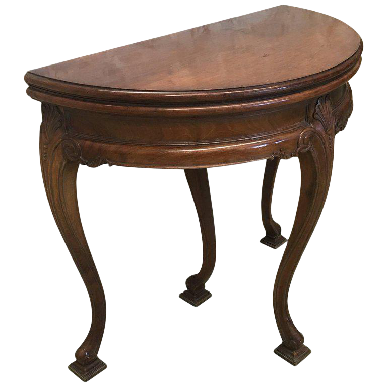 20th Game Card Demilune Fold Over Side Table Or Tea Table With Hidden Drawer