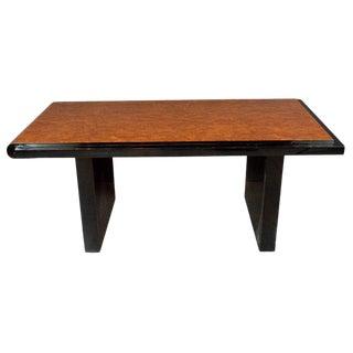 1930s Art Deco Table in Carpathian Elm & Black Lacquer by Donald Deskey for Widdicomb For Sale