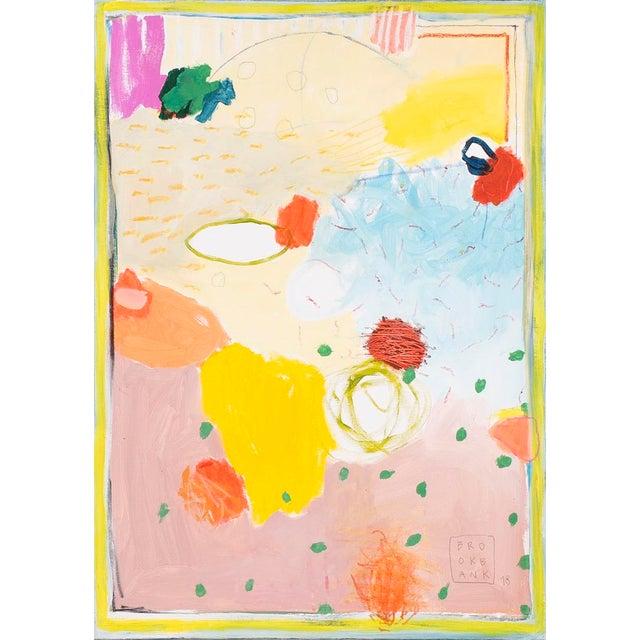"""Composición Espacial 3"" Abstract Neon Orange Painting by Ana Cano Brookbank For Sale"