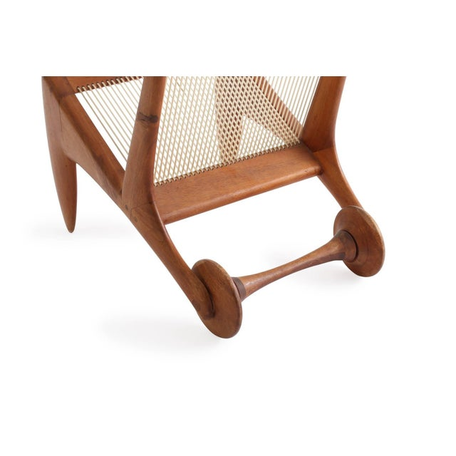 Walnut Allen Ditson One Off Walnut and Cord Magazine Holder For Sale - Image 7 of 8