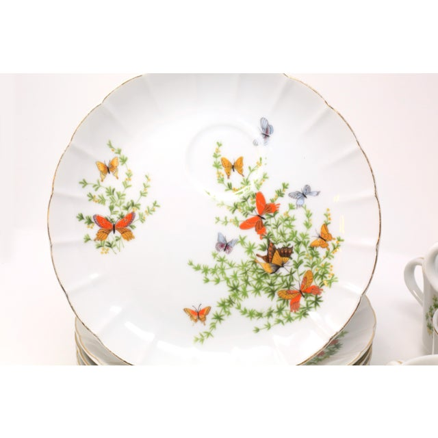 "Vintage ""Ecstasy"" Butterflies Snack Plates and Cups by Shafford - Set of 12 For Sale In Tampa - Image 6 of 11"