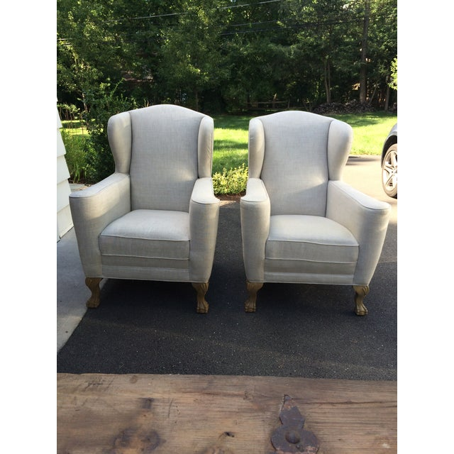 Restoration Hardware Linen Club Wing Chairs - Pair - Image 2 of 6