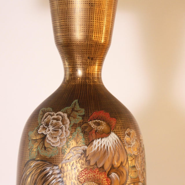Gold Marbro Styled Lamp With Hand Painted Rooster, C. 1960 For Sale - Image 4 of 6