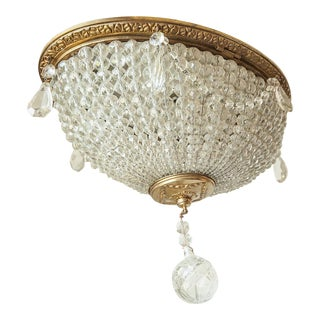 1920s French Crystal Beaded Ceiling Mount Light For Sale