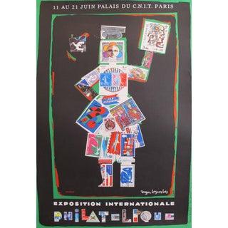 1982 Original Roger Bezombes Exhibition Poster - Exposition Internationale Philatelique - Palais Du Cnit Paris For Sale