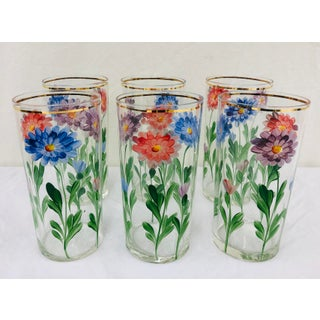 Vintage Hand Painted Floral Glasses Preview