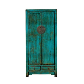 Oriental Distressed Glossy Teal Blue Green Slim Storage Cabinet For Sale