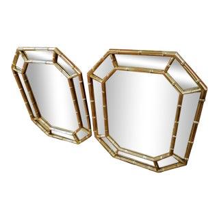 A Pair Faux Bamboo Palm Beach Regency Gold Metallic Octagonal Wall Mirrors For Sale