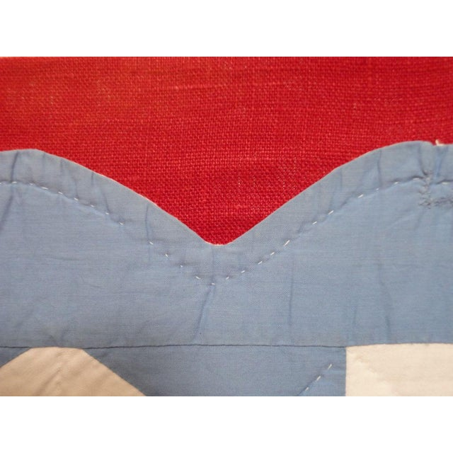 Textile Folky Mounted Red/White/Blue Sunbonnet Sue Crib Quilt with Balloon For Sale - Image 7 of 7