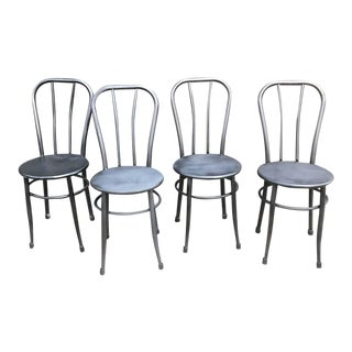 1940s Vintage Thonet-Style Black Metal Cafe Chairs - Set of 4 For Sale