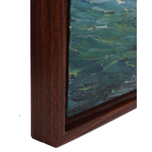 """Mid-Century Modern Original 60s Oil Painting of a Chinese """"Junk"""" For Sale - Image 3 of 4"""