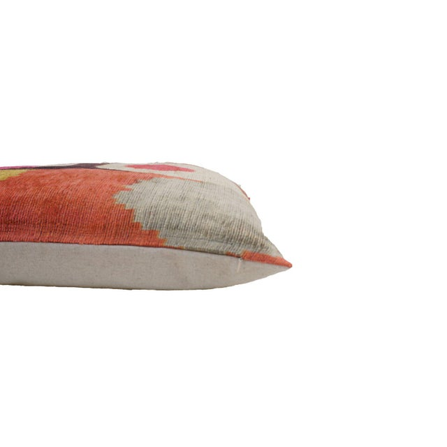 Desert Sun Multicolor Natural Silk Velvet Ikat Pillow For Sale - Image 4 of 5