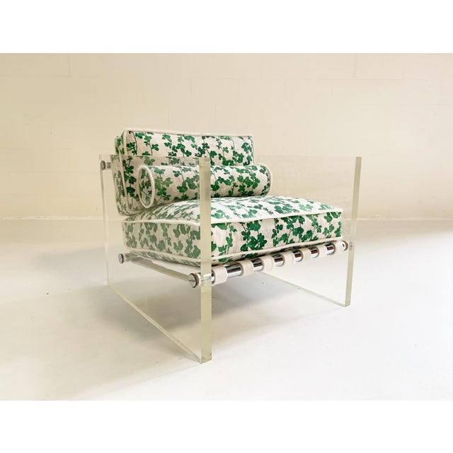 """20th Century Milo Baughman Lucite Slab Lounge Chair in Stevie Howell """"Brambles"""" For Sale - Image 13 of 13"""