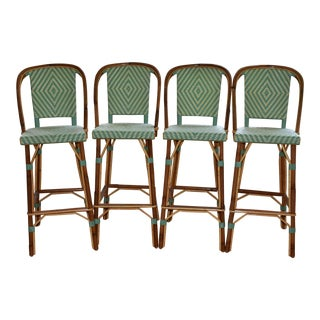 Tk Collections Rattan Indoor Bar Stools - Set of 4 For Sale