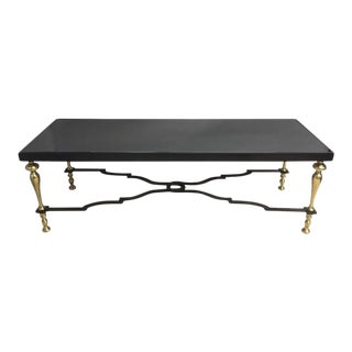 Sleek Brass, Wrought Iron & Mirrored Coffee Table For Sale