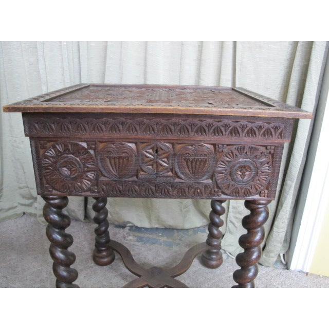 19th Century Swedish Scandinavian Gothic Sewing Table For Sale - Image 4 of 9