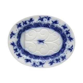 Antique Minton Flow Blue Turkey Platter W/Birds For Sale