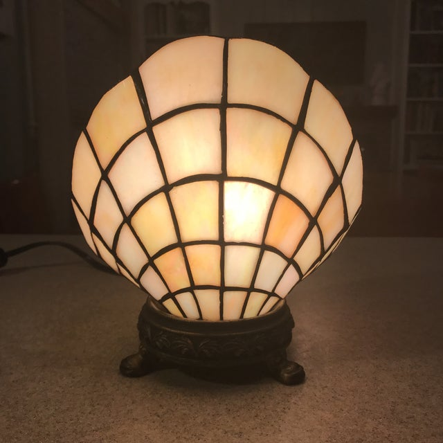 Art Nouveau Vintage Stained Glass Clam Shell Lamp For Sale - Image 3 of 11