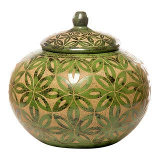 Jade Green Nicaraguan Etched Lidded Pottery Jar For Sale