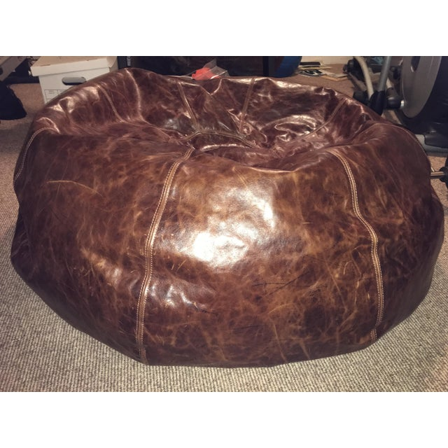 Restoration Hardware Leather Bean Bag Chair Chairish