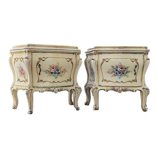 1970s Italian Hand Carved & Painted Cream Wood Nightstands