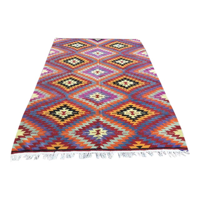 Colorful Turkish Kilim Rug For Sale