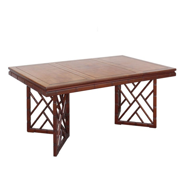 Chinese Oriental Brown Rectangular Writing Desk Dining Table For Sale - Image 4 of 10