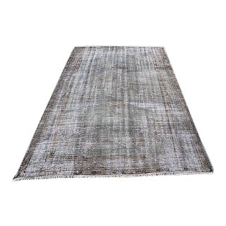 "Antique Overdyed Gray Turkish Rug - 5'2"" x 7'10"" For Sale"