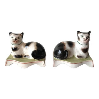 Staffordshire Cat Bookends - a Pair For Sale