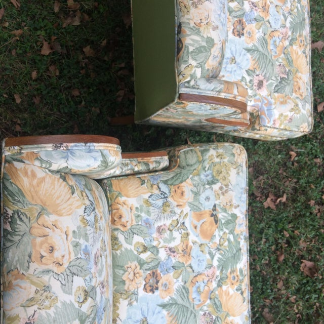 Vintage Winged Slipped Chairs in Floral - Pair - Image 8 of 9