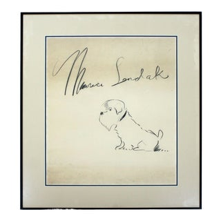 Mid Century Modern Framed Charcoal Orig Drawing Signed Maurice Sendak 1960s Dog For Sale